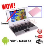 WolVol PINK Mini Computer Laptop Notebook 7 inch PC WIFI internet Android 2.2 Built-in Camera 4gb HD 256mb Ram (INCLUDES: Velvet Pouch Case, Charger, Mini Optical Mouse)