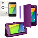 New Google Nexus 7 FHD 2013 Second Generation (7-Inch) Jelly Bean Android 4.3 (16GB / 32GB WiFi / 4G LTE) PURPLE Multi-Function New Nexus 7 Leather Case / Cover / Typing & Viewing Stand / Flip Case With Magnetic Sleep / Wake Sensor & Nexus 7 FHD 2 2.0 II Tablet Screen Protector Shield Guard & SMART Stylus holder Accessory Accessories Pack by InventCase