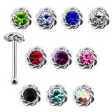 20 Pieces Mix Color Jeweled Twined Flower 925 Sterling Silver Nose Pin Ball End 20Gx1/4 (0.8x6MM). Pack in Acrylic Box.