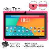 """NeuTab N7 Pink 7"""" Dual Core Google Android 4.1 Jelly Bean Tablet PC, 1024X600 HD, Dual Camera, Google Play Pre-loaded, 3D-Game Supported"""