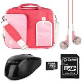 VG Pindar Messenger Carrying Bag for Asus Chromebook C300 13.3-inch Laptops (Pastel White & Pink) + Black Wireless USB Mouse + Pink VG Headphones + 16GB Memory Card