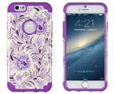 iPhone 6, DandyCase 2in1 Hybrid High Impact Hard Lavender & Cream Floral Pattern + Purple Silicone Case Cover for Apple iPhone 6 (4.7″ screen) + DandyCase Screen Cleaner