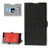 DIYLooks Hairline Texture Flip Leather Case with Credit Card Slots & Holder for Xiaomi Redmi 1s (Black)