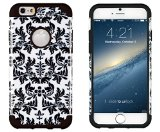 iPhone 6, DandyCase 2in1 Hybrid High Impact Hard Black & White Flower Pattern + Silicone Case Cover for Apple iPhone 6 (4.7″ screen) + DandyCase Screen Cleaner