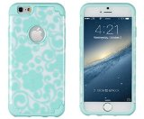 iPhone 6, DandyCase 2in1 Hybrid High Impact Hard Sea Green Flower Pattern + Silicone Case Cover for Apple iPhone 6 (4.7″ screen) + DandyCase Screen Cleaner