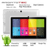 ProntoTec 7″ Android 4.4 KitKat Tablet PC, Cortex A8 1.2 GHz Dual Core Processor,512MB / 4GB,Dual Camera,HDMI,G-Sensor (White)