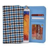 Teal Blue and Brown Houndstooth Print Smartphone Bag XL size for Xiaomi Redmi Note