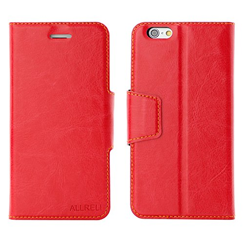 iPhone 6 Case Leather Wallet Cover Red