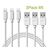 Charger(TM) 3Pcs 6Ft Lightning to USB Charging Cable, Syncing and Charging cord for iPhone 6s Plus/ 6 /SE/5s 5c 5, iPad Air / mini / 4th Gen, iPod nano / touch (White)